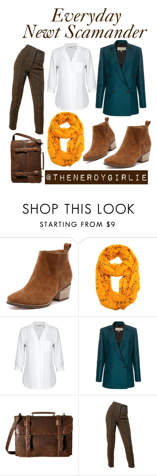 """""""Everyday Newt Scamander"""" by thenerdygirlie ❤ liked on Polyvore featuring Le Nom, Paul Smith, Scully and Emanuel Ungaro"""