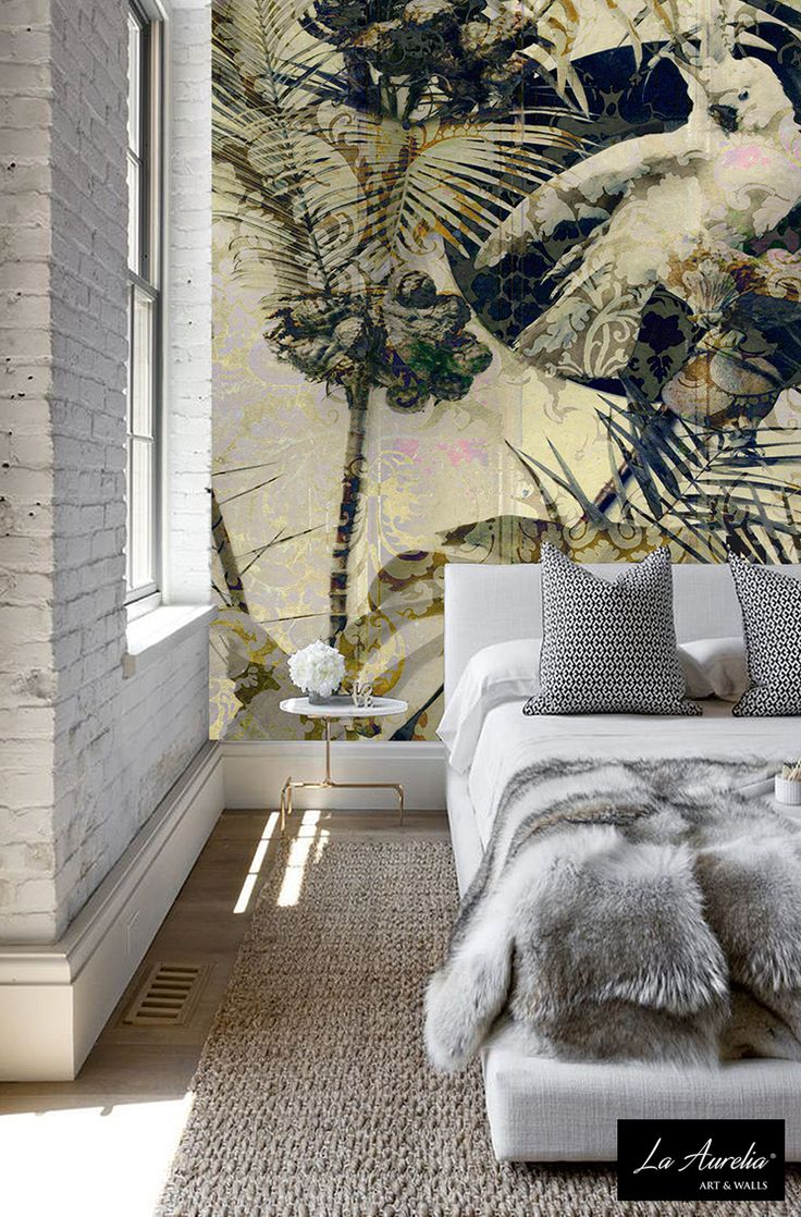 Transform your bedroom into a classy, botanical theme! Lovely La Aurelia Wallpaper-design in yellow & gold colortones, with a parrot, leaves and other nice details. For more information or your nearest La Aurelia-reseller, contact us or vistit our website  la-aurelia.com  #wallpaper #wallart #behang #art #mural #kunst #wallcovering #kakatoe #bird #yellow #gold #bedroom #slaapkamer #LaAurelia