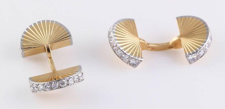 1950s Cartier Diamond Gold Platinum Cufflinks | From a unique collection of vintage cufflinks at https://www.1stdibs.com/jewelry/cufflinks/cufflinks/