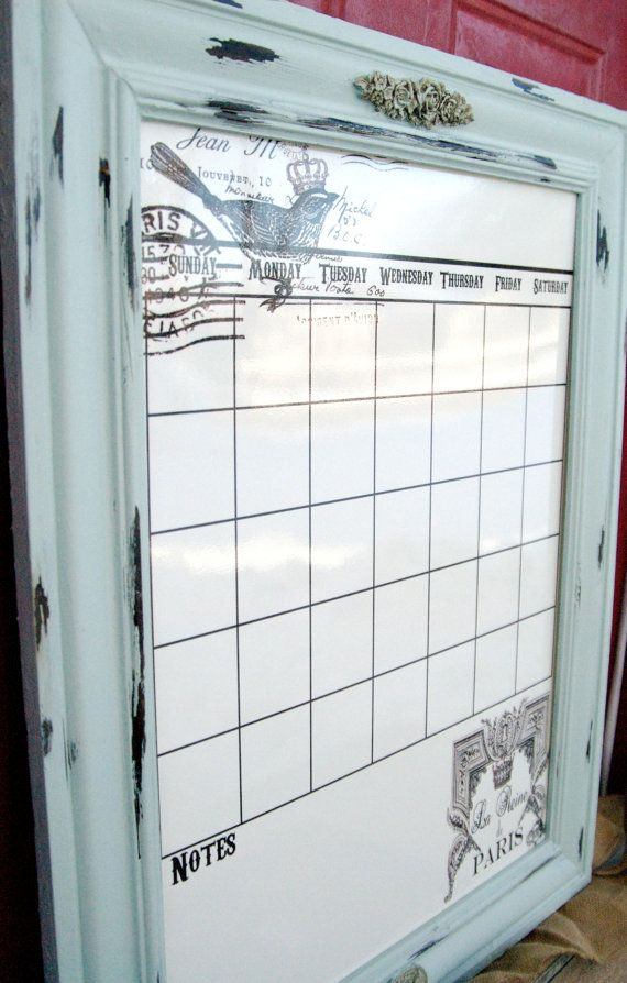 Large Dry Erase/Magnetic calendar Distressed frame Parisian stye Gaudy French crown decor.  Paris decor