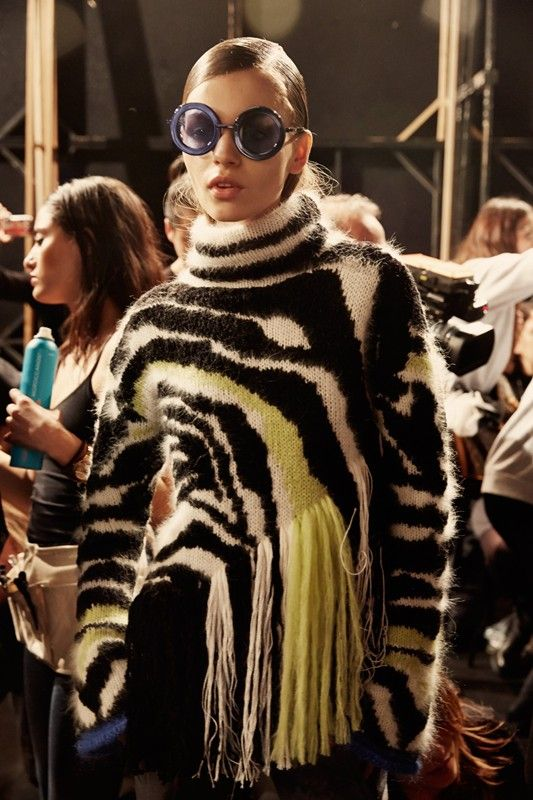 Animal print knitwear backstage at Just Cavalli AW14 MFW. Shot by Paolo Musa. More images here: http://www.dazeddigital.com/fashion/gallery/17469/1/just-cavalli-aw14