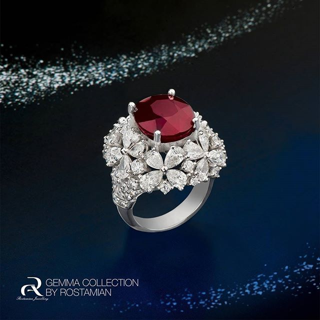 Amazing Ruby & Diamond Ring From Rostamian's Gemma Collection... Photo by @shinycenter Art Team #alirezarostamian #jewellery #diamond #sapphire #ring #gemmacollections