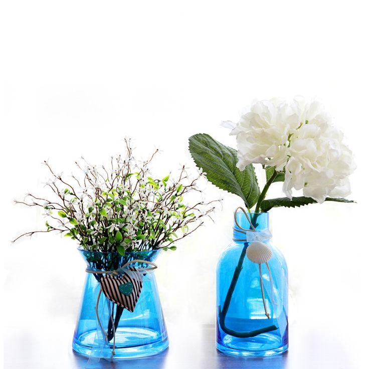 Barato Santorini estilo minimalista mediterrâneo azul shell flor vaso de vidro flor titular variedade de multi cores opcionais, Compro Qualidade Vasos diretamente de fornecedores da China:                                        Floret tornando a natureza casual de vida                   Lavar as mãos em uma