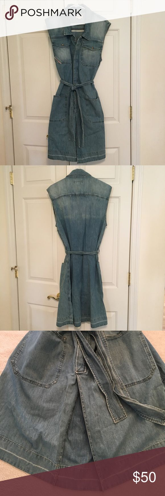 Cute denim dress from Diesel perfect for Fall Sleeveless denim dress from Diesel, hidden placket snap-front to waist, single pleat in front, knee-length. Comes with self-belt but wouldn't it be awesome with brown leather belt and boots. Maybe worn once, maybe never. (Original price is a guess, it's been awhile) Diesel Dresses Midi