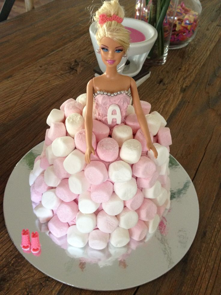 #barbie cake #dolly varden #madebyme #23rd birthday #for ash #marshmellows #pink & white #barbie doll #raspberry swirl cake