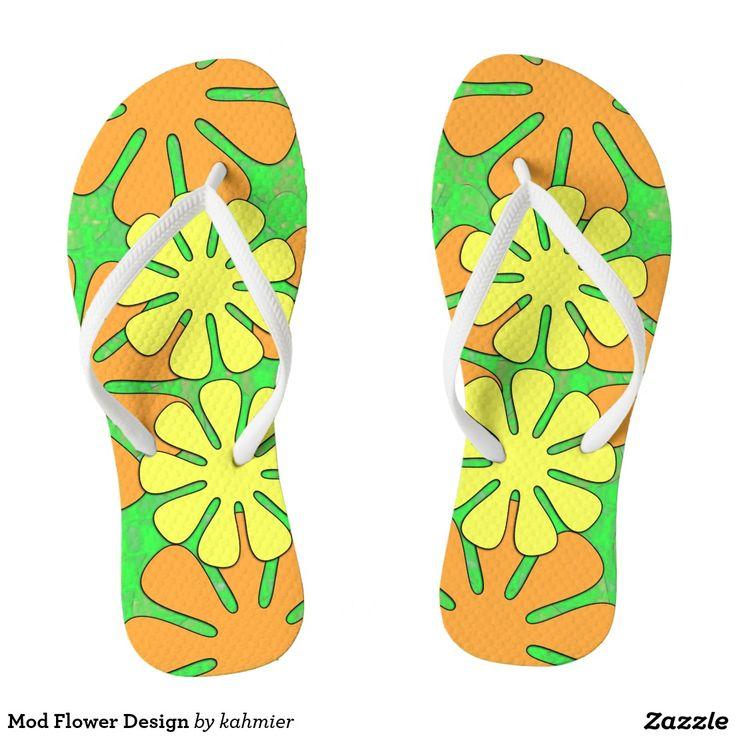 Mod Flower Design Flip Flops 20.17% off #zazzle #leatherwooddesign www.leatherwooddesign.com