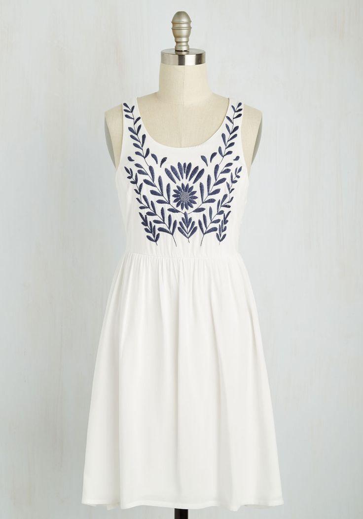 The Folky Pokey Dress in White