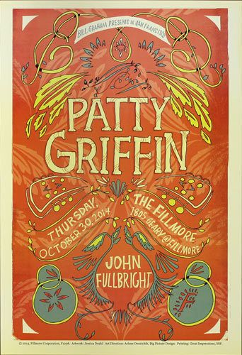 Patty Griffin John Fullbright 10/30/2014 Fillmore SF Concert Poster F1298