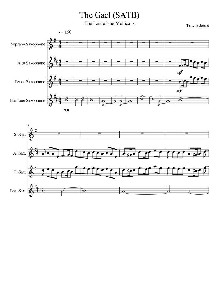 Sheet music made by thebigbadkitty for 4 parts: Soprano Saxophone, Alto Saxophone, Tenor Saxophone, Baritone Saxophone