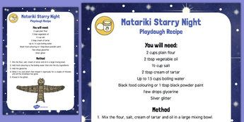 Matariki Starry Night Playdough Recipe - nz, new zealand, starry night…