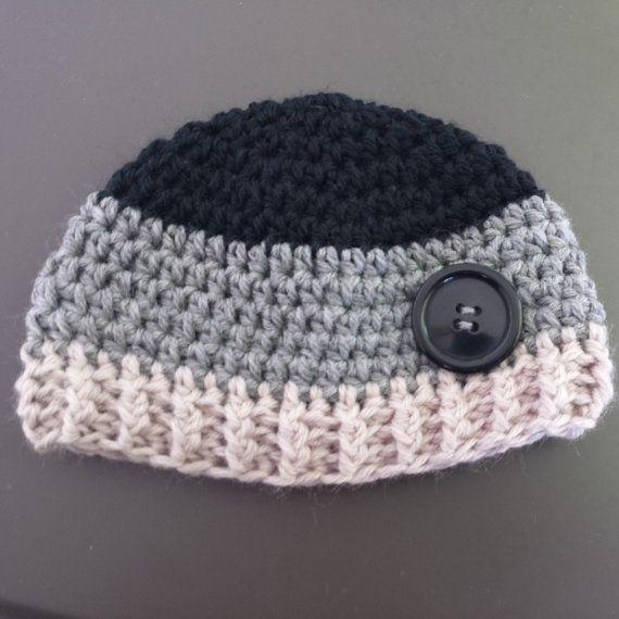 Hipster baby boy crochet handmade beanie.  0-6months