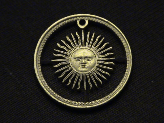 ARGENTINA  cut coin jewelry  w/ Smiling Sun and Rays  by petsalad, $48.00