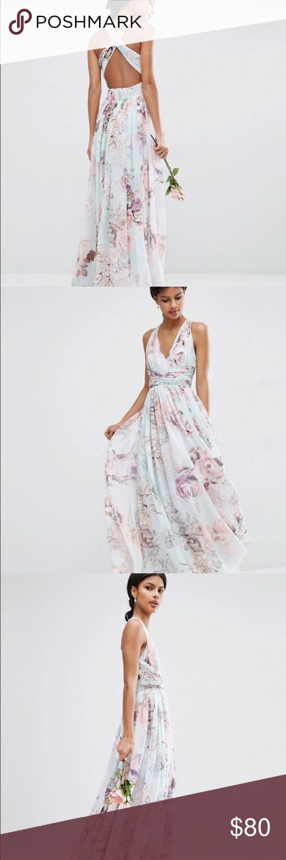 ASOS WEDDING Hollywood Maxi Dress: Soft Rose Print Never Worn, tags still on! Gorgeous floral chiffon print dress. ASOS Dresses Maxi