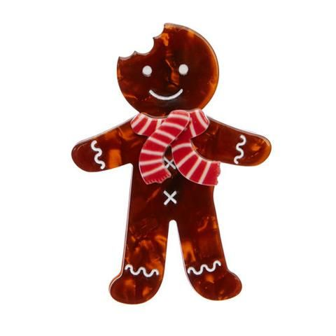 Ginger The Christmas Cookie (Brown Resin Brooch)