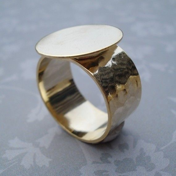 14kt Gold Plated Adjustable Ring 10mm Hammered Band with 16mm
