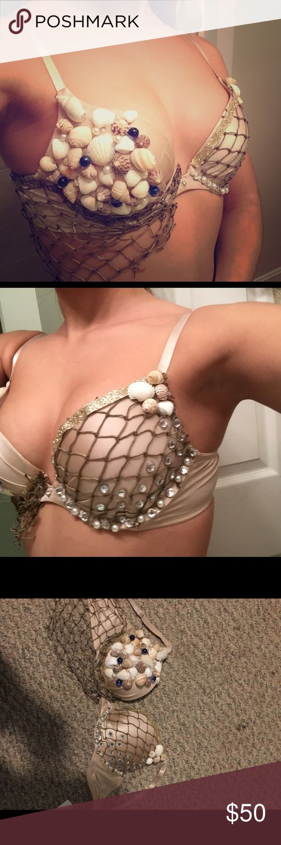 Rave Bra Size 36A. Push-up. Has shells, small blue marbles,sequins and pearls on it. Side netting can be removed if you wish. Was going to use for mermaid Halloween costume, but chose a different costume instead. This bra has NEVER been worn!   Make me an offer! Intimates & Sleepwear Bras