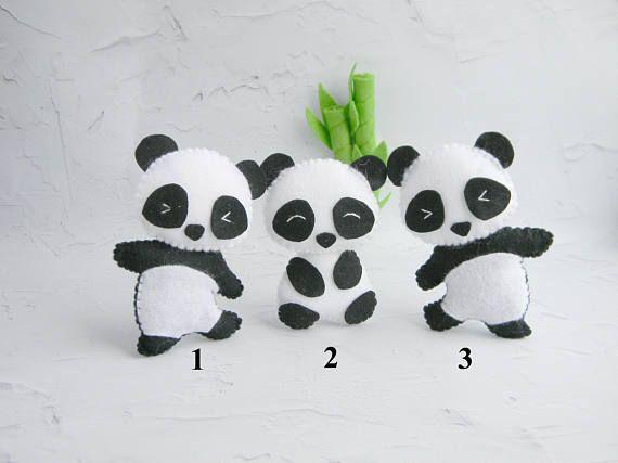 Lindo panda fieltro adorno oso Panda juguete Panda tema vivero