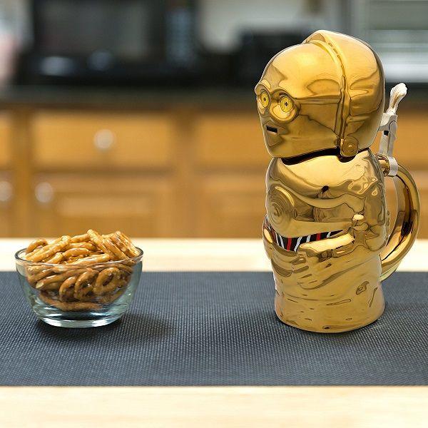 Star Wars C3-PO 22oz Stein - Collectible Ceramic Mug with Metal Hinge