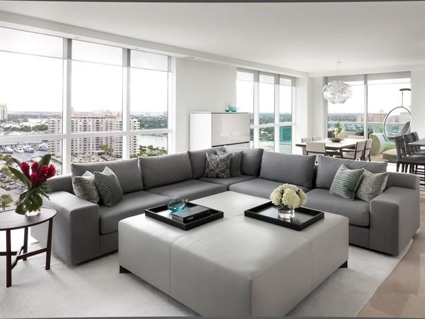 Cozy yet Contemporary in High-Rise Living and Dining Room from HGTV