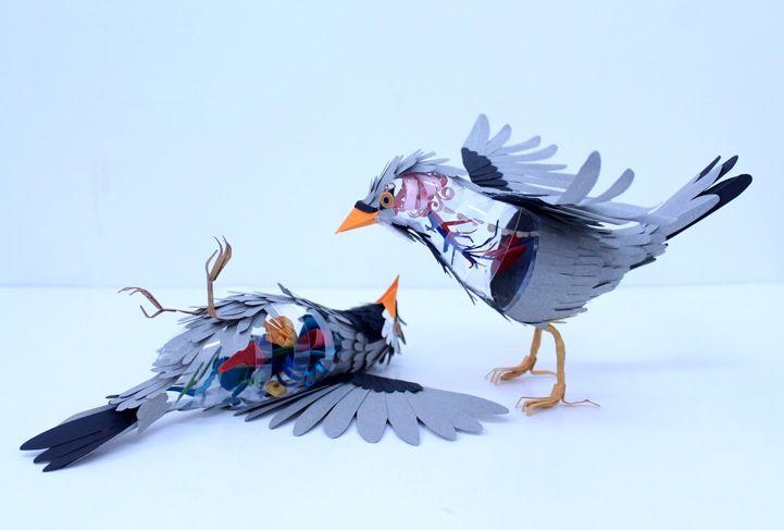 paper bird sculptures, by artist Diana Beltran Herrera