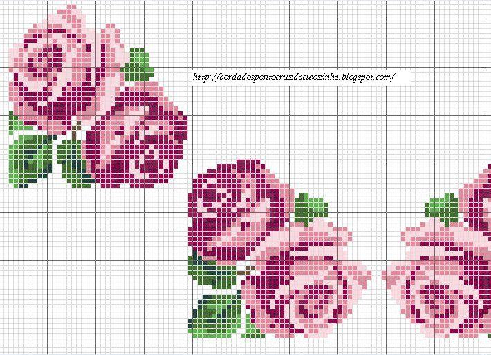 Bordados em Ponto Cruz da Cleozinha: Rosas