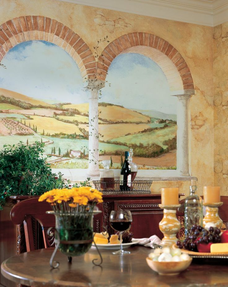 21 best images about tuscan wallpaper on pinterest for Dining room mural wallpaper