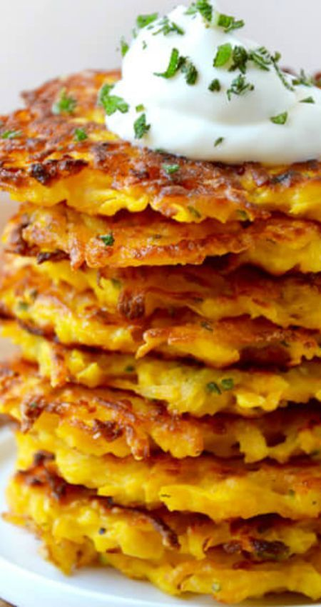 5-Ingredient Butternut Squash Fritters ~ Quick and easy recipe...  They're hot, crispy, salty and the ultimate way to sneak squash onto the plates of even the most veggie-averse eaters.