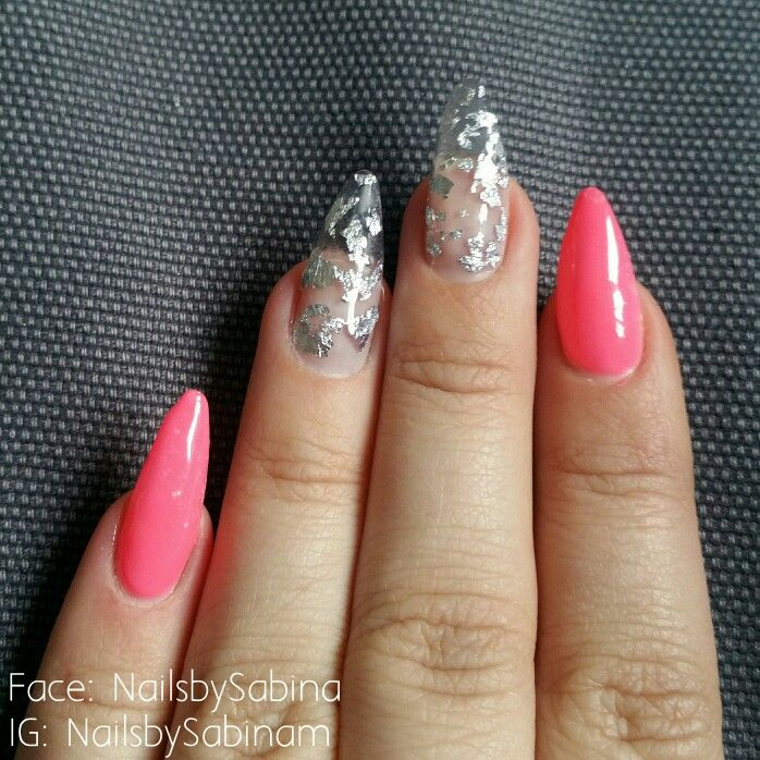 "Acrylic nails with gelish ""pacific sunset"" and Silver leaf over clear acrylic."