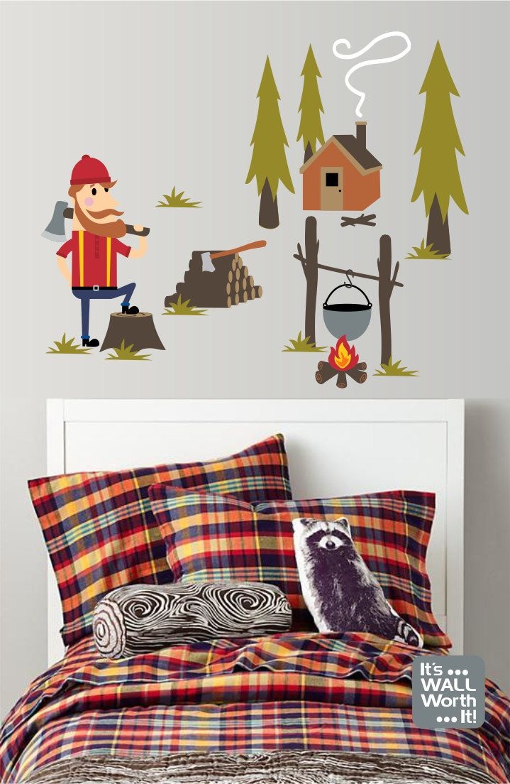 267 best its wall worth it images on pinterest vinyls lumberjack outdoors camping scene vinyl wall decal bedroom or playroom wall decal amipublicfo Images