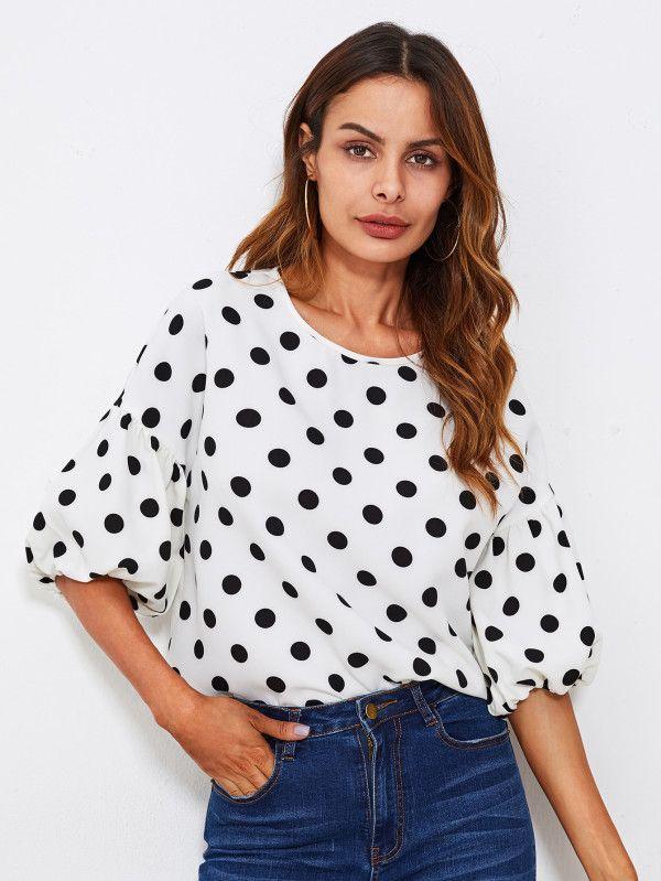 41500377763 Модная блуза в горошек