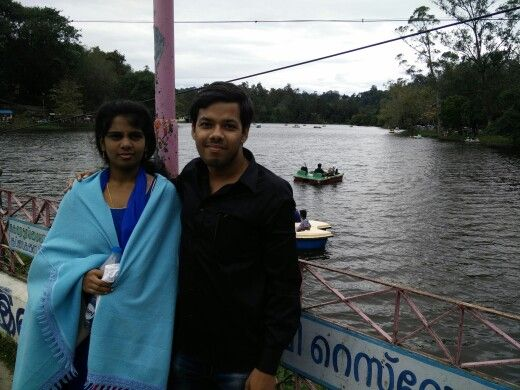 Sushma and me July 19th 2015. Kodaikanal lake.