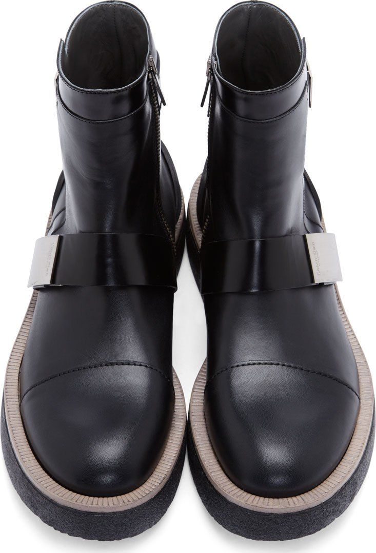 Calvin Klein Collection Black Leather Brushed Metal Buckle Boots