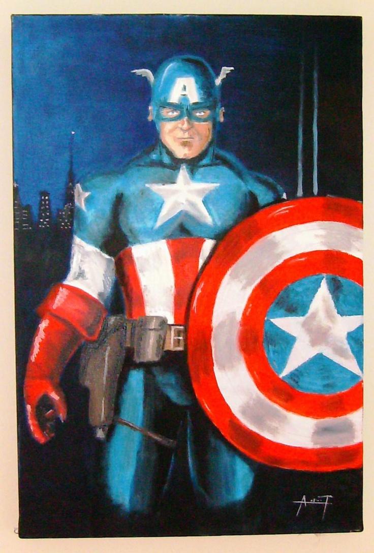 capitan america .oleo sobre lienzo