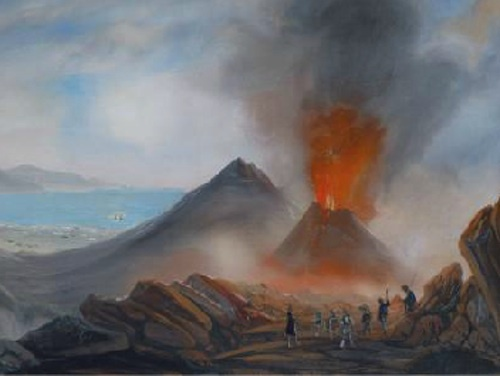 "neapolitan school, late-19th century - ""expedition to vesuvius"", gouache on paper."