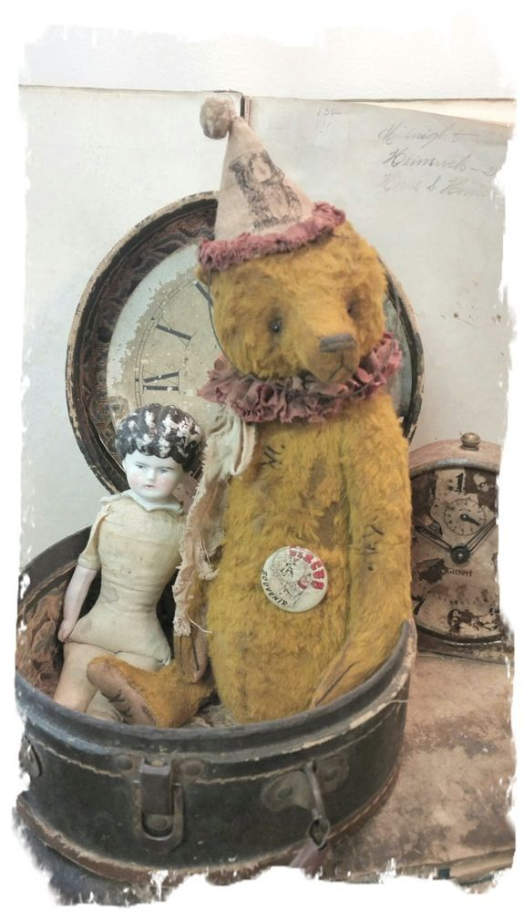"""Image of NEW DESIGN * Antique Style 11"""" Old Clown Teddy Bear * By Whendi's Bears"""