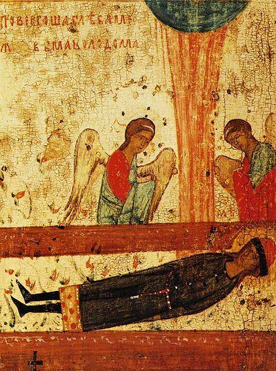 Тело Глеба, брошенное в степи между двумя колодами, огненный столп над ним и поклоняющиеся ангелы. Клеймо иконы из Борисоглебской церкви в…
