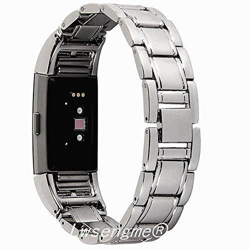 """Lwsengme Metal Bands for Fitbit Charge 2Charge2 Tracker Replacement. Magnet Strap Lock Large Small (Lihgt Metal 5.5""""-8.1"""")"""