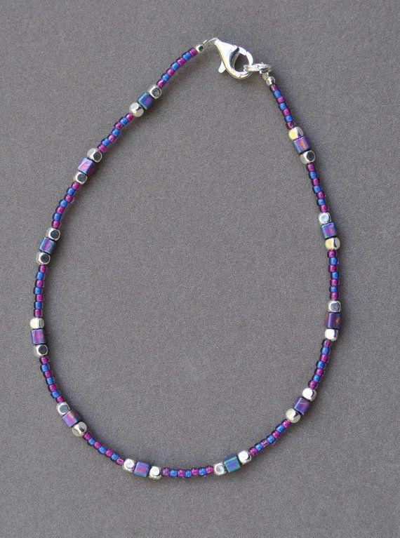 Bracelet de cheville perles bleu et violet
