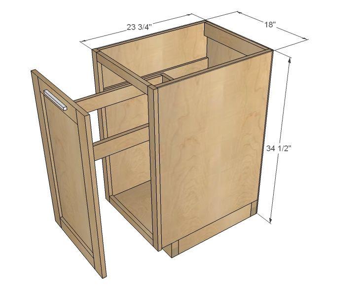 18 kitchen base cabinet trash pull out or storage cupboard with rh pinterest com Corner Kitchen Cabinet Sizes Corner Kitchen Cabinet Sizes