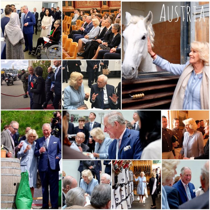6th April 2017: TRH began with a tour of the Jewish Museum. The Prince, Patron of the Holocaust Memorial Day Trust UK, & The Duchess met Holocaust survivors during their visit. TRH later enjoyed a rehearsal of the Vienna Philharmonic Orchestra at Musikverein Wien. TRH also enjoyed a taste of traditional Austrian produce at Obermann Vineyard. Later The Prince later visited OSCE to attend a session on modern slavery. Whist Camilla visited the Spanish Riding School of 450yrs. #RoyalVisitAustria