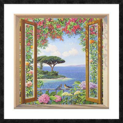 "Global Gallery 'Sulla costa mediterranea' by Andrea Del Missier Framed Graphic Art Size: 38"" H x 38"" W x 1.5"" D"
