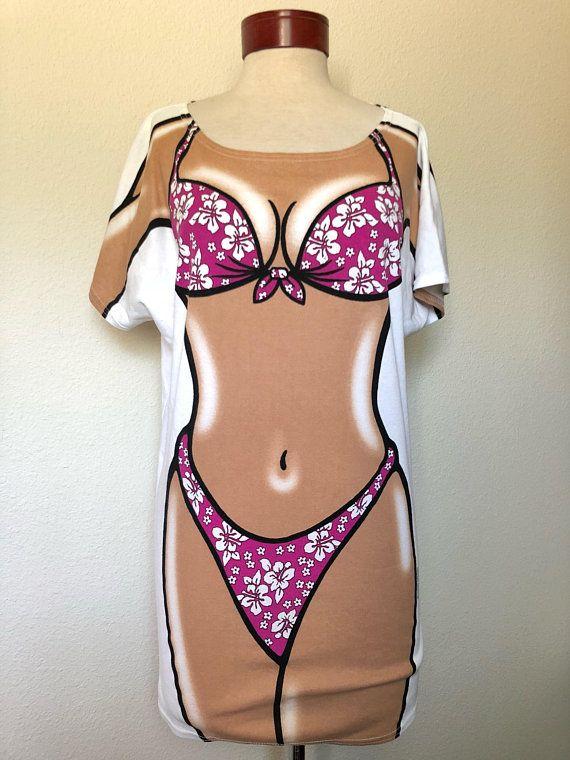 ce485cc29f Vintage Bikini Body t-shirt 90s 1990s, beach coverup vtg, tan body sexy,  tropical floral Hawaiian funny tee, oversized one size, Body Dreams