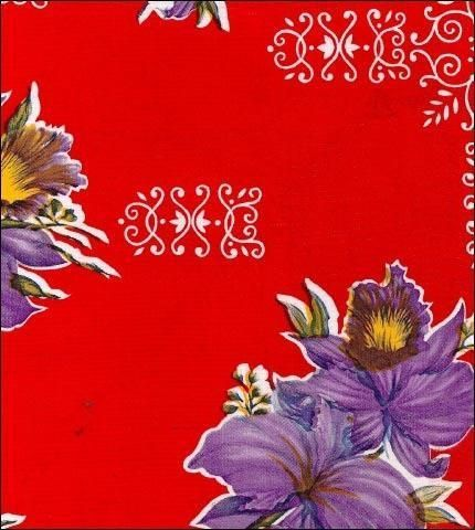 Purple Orchids on Red Oilcloth Tablecloth