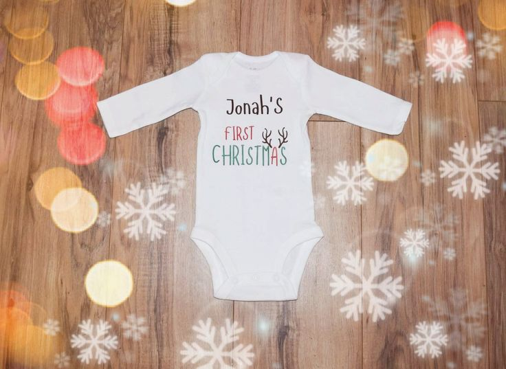 Boy's 1st Christmas Outfit, Boys Christmas Bodysuit, Personalized 1st Christmas Shirt, Baby Boy Christmas Shirt, Newborn Christmas Outfit by SweetFamilyCrafts on Etsy