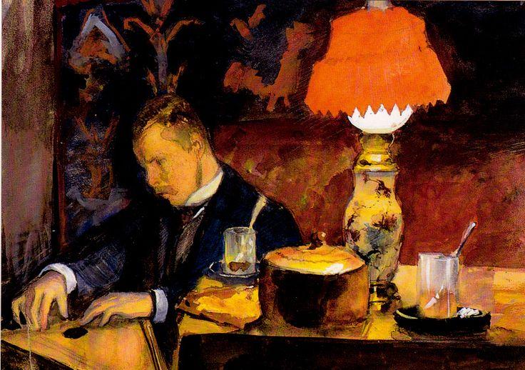 Kuva albumissa EERO JÄRNEFELT - Google Kuvat. Pekka Halonen soittaa kannelta.  Pariisi 1891.