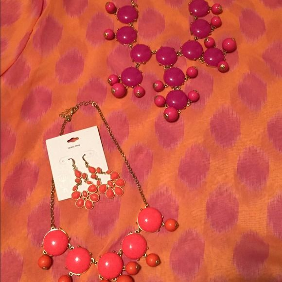 All THREE items in pic! NEWboutiq shirt+ necklaces All THREE items in listing pics for this price!!! Cute never worn coral and pink polka dot shirt. Comes with BOTH the pink, and the coral necklaces shown in pic to match! 💕 shirt runs  very small for a Large. More like a medium in junior boutique size! Is light and flowy 😊2 bubble necklaces that both match. Coral earrings also come with shown in pic that match the coral necklace! ❤️ very good deal! Thanks for shopping! Boutique Tops