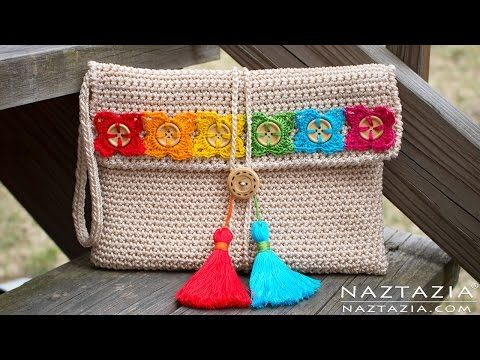 DIY Tutorial - Crochet Bohemian Clutch - Boho Evening Hand Bag Bolsa Collab - Hectanooga1 - YouTube