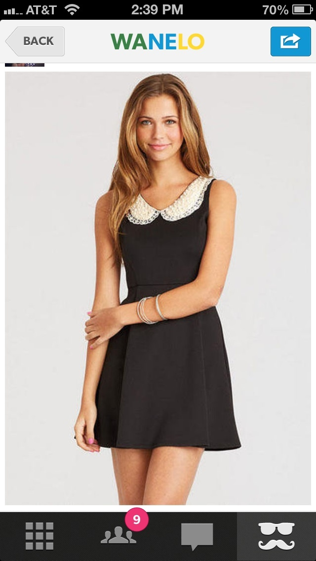 Pearl collar: Bridge Dresses,  Minis, Pearls Collars, Collars Ponte, Dreams Closet, Style, Black Dresses, Pont Dresses, Peter Pan