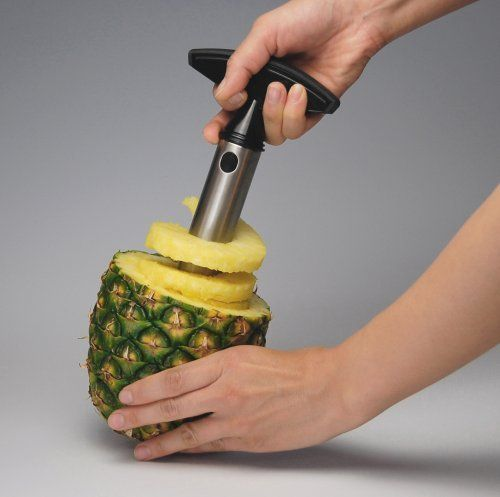 Pineapple Easy Slicer -- Fresh-cut pineapple is like a little taste of paradise--and if hacking up the whole spiky shebang werent such a royal pain, wed probably all eat a lot more of it. Vacu Vins stainless steel version of its award-winning slicer takes the work and mess out of this tropical treat, peeling, coring, and slicing an entire pineapple in just 30 seconds. Equipped with a medium blade to fit most sizes of fruit, it works j