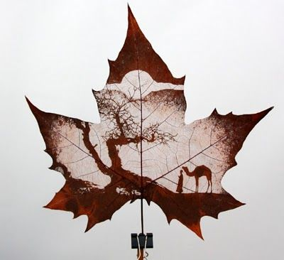 By Chinese artisan  Using a surface from nature to incorporate the nature drawing makes it more meaningful in the surface. It also looks like a silhouette photo.